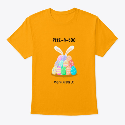 Rude Easter Bunny Gold T-Shirt Front