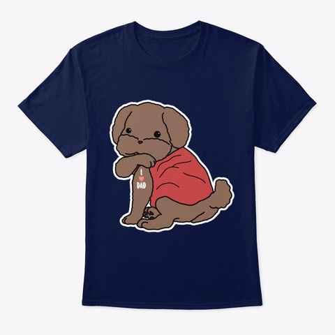 Dog Poodle Dog Tattoo I Love Dad Navy T-Shirt Front