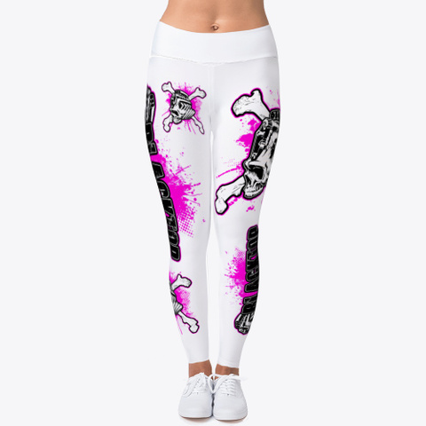 Pink Black And White Leggings Standard T-Shirt Front