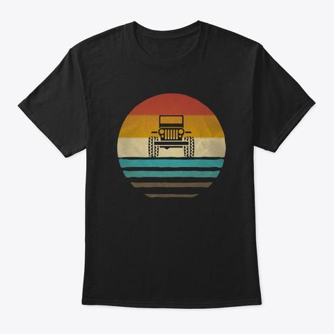 Retro Vintage Jeep Lover Owner Gift Black T-Shirt Front