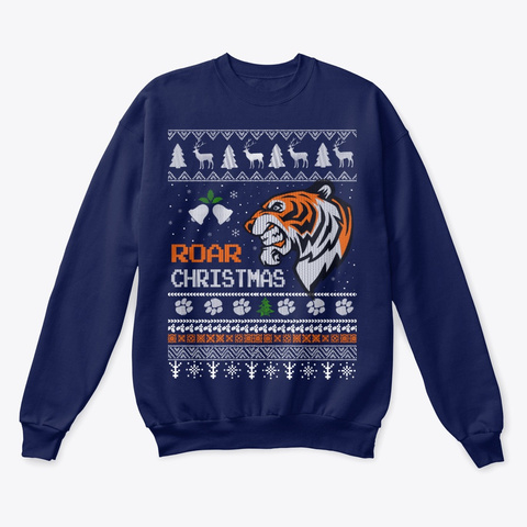 Tiger Roar Ugly Christmas Sweater Navy  T-Shirt Front