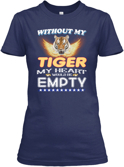 Without Tiger Heart Empty Navy T-Shirt Front