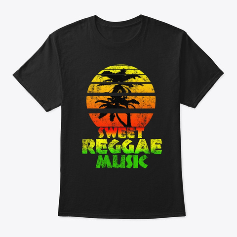 Sweet Reggae Music | Retro Sun Palms Black T-Shirt Front