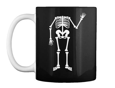 Skeleton Halloween Funny Mug Black T-Shirt Front