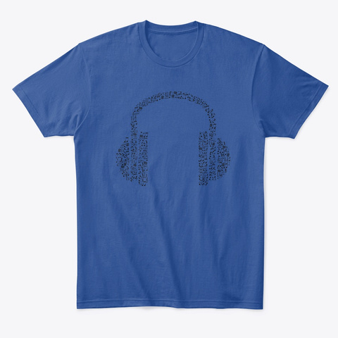 Headphones (Unisex T Shirt) Deep Royal T-Shirt Front