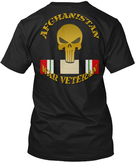 Afghanistan War Veteran Black T-Shirt Back