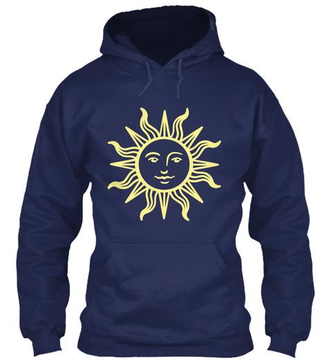 Sun Face Hoodie Navy T-Shirt Front