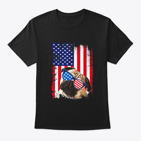 Vintage Pug Dog Shirt American Usa Flag Black T-Shirt Front