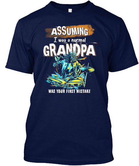 Drum Player Grandpa Drummer Father's Day Navy T-Shirt Front