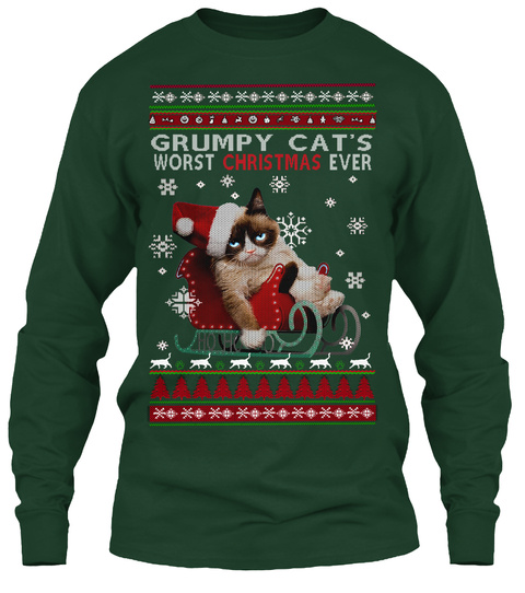 Grumpy Cat's Worst Christmas Ever Forest Green T-Shirt Front