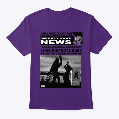 Weekly Fake News Purple T-Shirt Front