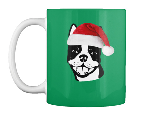 "Boston Terrier ""Santa"" 11oz Mug Kelly Green Mok Front"