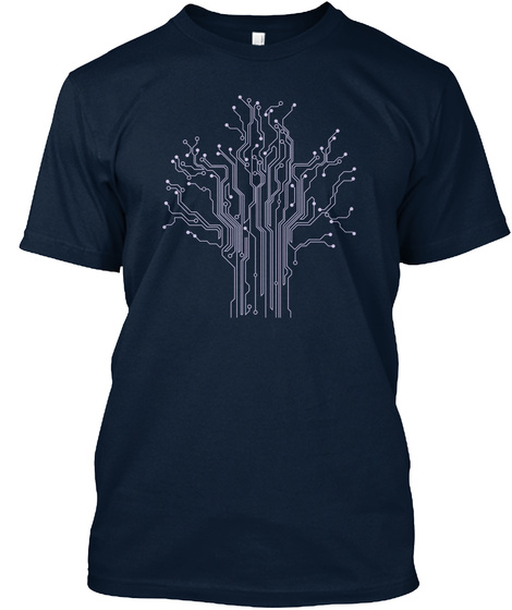 Circuit Tree Computer Engineering Shirt New Navy T-Shirt Front