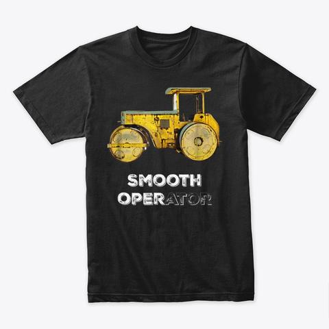 Construction Trucks Road Roller Black T-Shirt Front