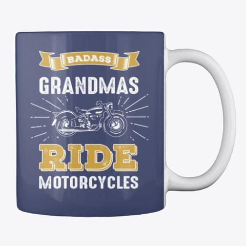 Badass Grandmas Ride Motorcycles Gift Dark Navy T-Shirt Back