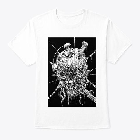 Horror Skull Ink  White T-Shirt Front