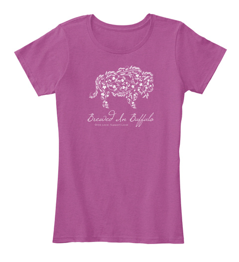 Brewed In Buffalo Heathered Pink Raspberry T-Shirt Front