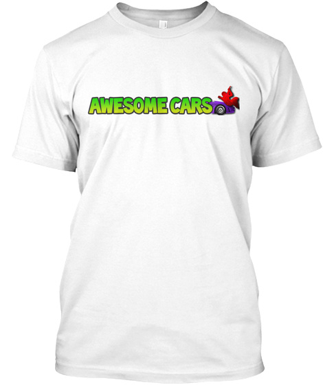 Awesome Cars Tee White T-Shirt Front