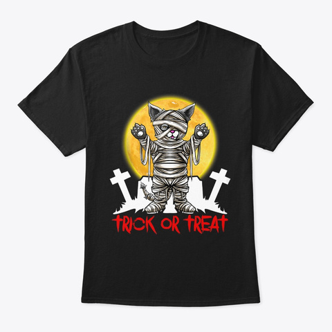 Trick Or Treat Tee Halloween Cat Lover Black T-Shirt Front