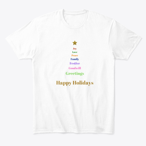 Holiday Tree White T-Shirt Front