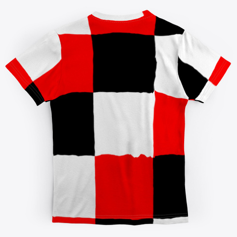 Black White Red Patchwork Check Pattern Standard T-Shirt Back