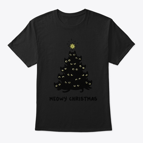Meowy Christmas Cats Lover Shirt Black T-Shirt Front