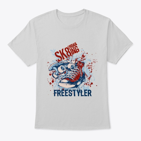 Urban Skiing Freestyler   Awesome Skiing Light Steel T-Shirt Front