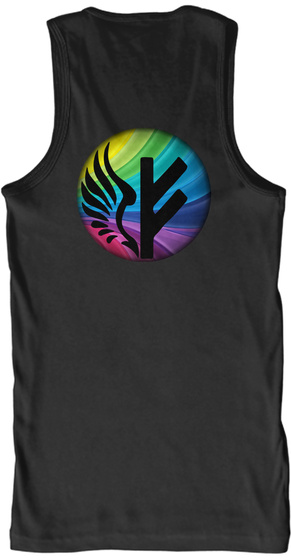 Freyja Black Rainbow Logos Tank Black T-Shirt Back