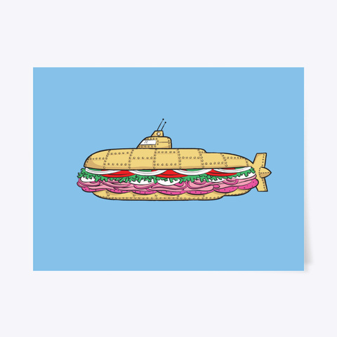 Submarine Sandwich Poster Light Blue T-Shirt Front