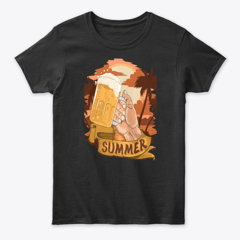 Summer Beer Time  Tee Black T-Shirt Front