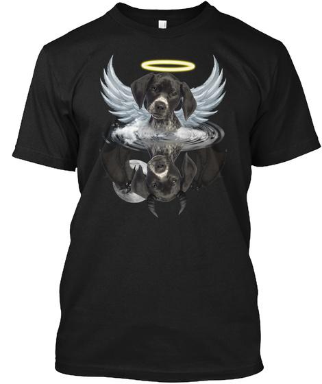German Shorthaired Pointer  Angel Devil Black T-Shirt Front