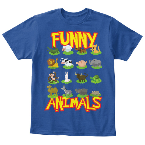 Funny Animals Deep Royal  T-Shirt Front