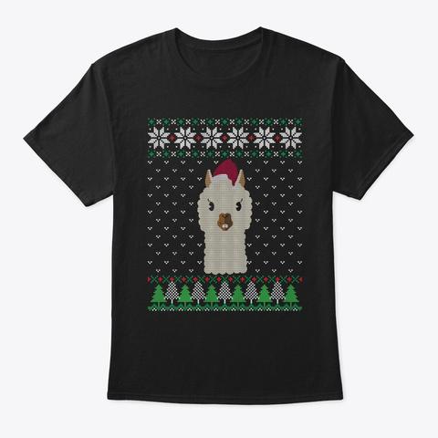 Llama Ugly Christmas Sweater Sweatshirt Black T-Shirt Front