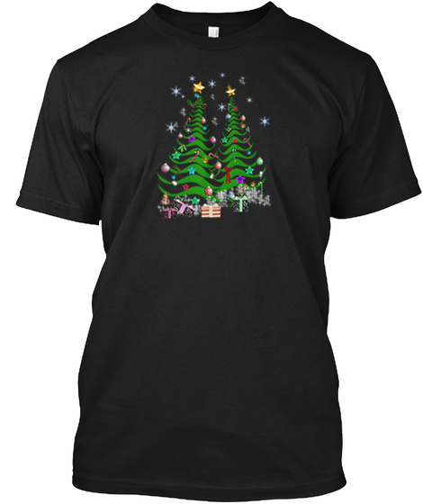 Artsy Christmas Tree And Decorations 2 Black T-Shirt Front