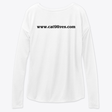 Cat9lives Apparel White Long Sleeve T-Shirt Back