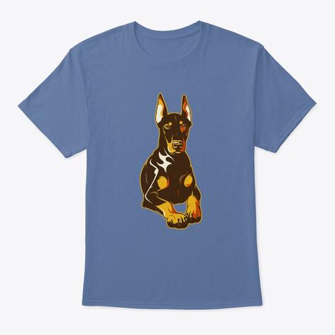 Resting Doberman Dog Art Denim Blue T-Shirt Front