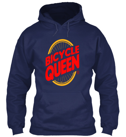 Bicycle Queen Navy T-Shirt Front