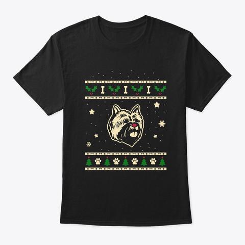 Christmas Cairn Terrier Gift Black T-Shirt Front