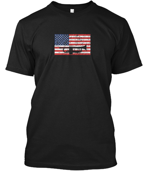 4th Of July Trumpet Marching Band Black T-Shirt Front
