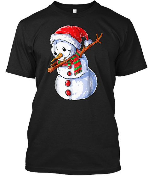 Dabbing Snowman T Shirt Christmas Kids B Black T-Shirt Front