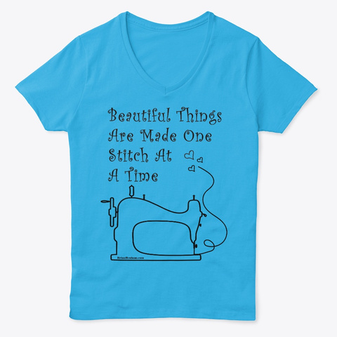 Sewing One Stitch At A Time Aquatic Blue  T-Shirt Front