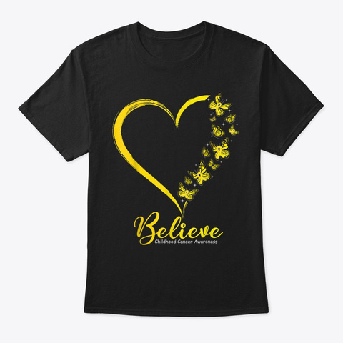 Butterfly Believe Childhood Cancer Black T-Shirt Front