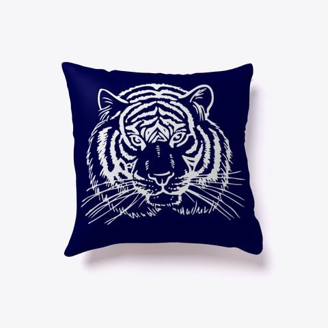 White Tiger  Face Pillows Dark Navy T-Shirt Front