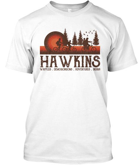 Hawkins Waffles Demogorgons White T-Shirt Front
