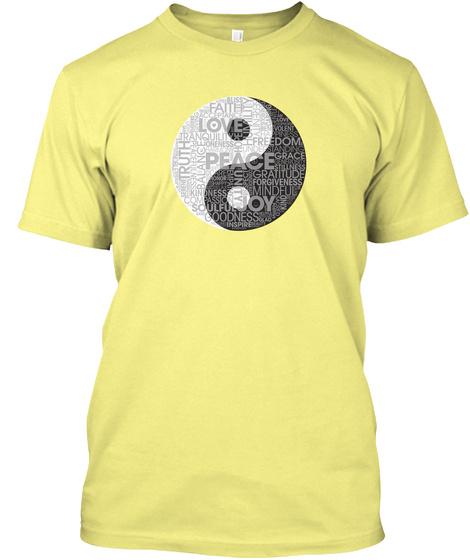 Peace Words   Yin Yang Word Cloud  Men Lemon Yellow  T-Shirt Front