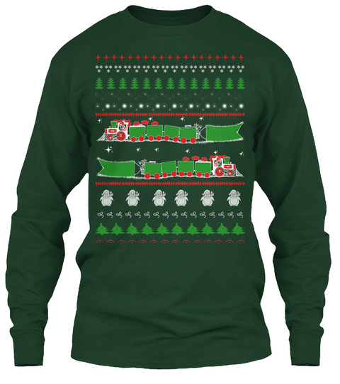 Ugly Christmas Sweater Style Printed Tee Forest Green Long Sleeve T-Shirt Front