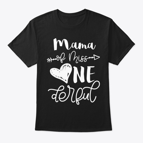 Womens Family Mom Mama Of Miss Onederful Black T-Shirt Front
