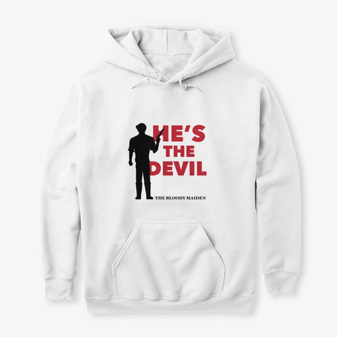 He's The Devil (Grey & White) White T-Shirt Front