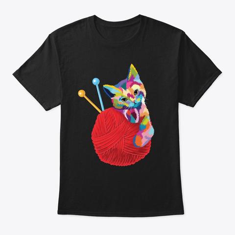 Cat Shirt Women Girls Gift Yarn Ball Cat Black T-Shirt Front