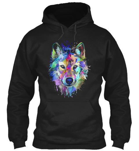 Splash Art Wolf Gifts For Wolves Lovers Black T-Shirt Front